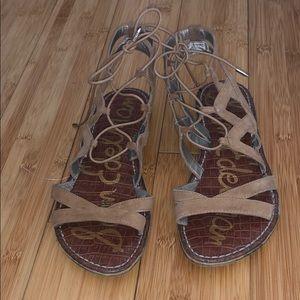 Sam Edelman Gemma Camel Suede Lace Up Sandals